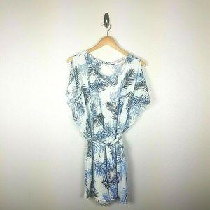 Mimi Chica Tropical Romper L Blue White Shorts